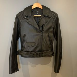 7 FOR ALL MANKIND✨| BELTED LEATHER MOTO JACKET